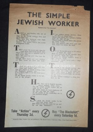 "Rare British Union of Fascists (BUF) Propaganda ""The Simple Jewish Worker"".Flyer Circa.1930's"