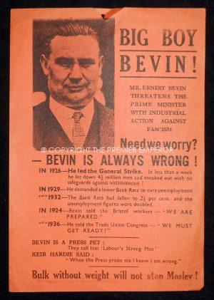 "Rare British Union of Fascists (BUF)Propaganda ""Big Boy Bevin"".Flyer (Approx.A5 size).Circa.1930's"