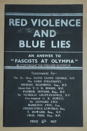 "Rare British Union of Fascists (BUF) Book(Paperback)""Red Violence and Blue Lies"" .Circa.1930's"