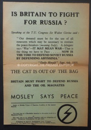 "Rare British Union of Fascists (BUF) ""Is Britain to fight for Russia?"" Flyer.Circa.1930's"