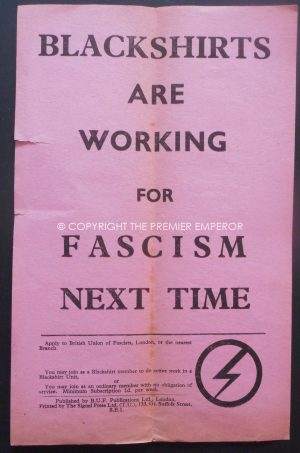 "Rare British Union of Fascists (BUF) ""Blackshirts are working for Fascism Next time"" Flyer.Circa.1930's"