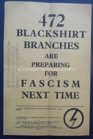 "Rare British Union of Fascists (BUF) ""472 Blackshirts are Preparing for Fascism Next time"" Flyer.Circa.1930's"
