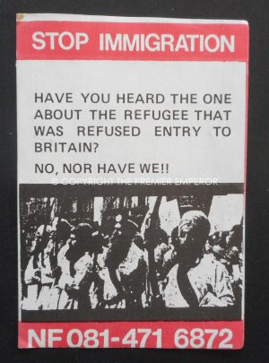 "British; National Front small hand out paper.""Stop Immigration"". Circa.1970's"