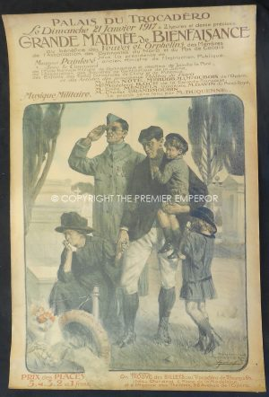 "France:- Superb Great War 1914/1918 Poster,"" Grande Matinee de Bienfaisance 21st January 1917″."