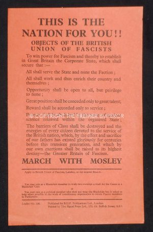"""Rare British Union of Fascists (BUF) """"This is the Nation for You!!""""Leaflet No.106.Flyer (Approx.A5 size).Circa.1930's"""