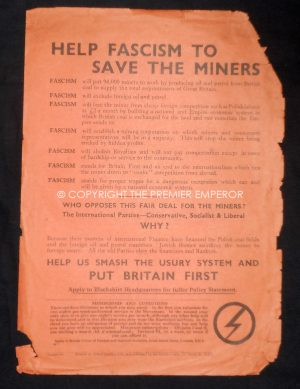 """Rare British Union of Fascists (BUF) """"Help Fascism to save the Miners""""Leaflet(Slightly larger than A5 size).Circa.1930's"""