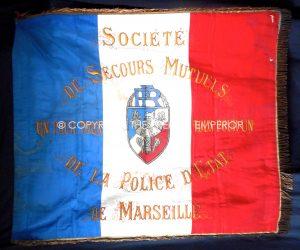 France: Police D'Etat de Marseille (Societe de Secours Mutuels)bullion woven Drapeau. Circa.1930's