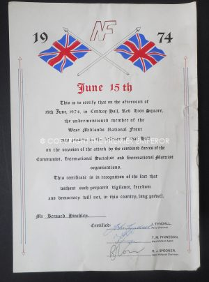 British: British National Front Defence Certificate June 15th 1974 Conway Hall, Circa.1970's